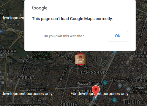 errore mappa di Google sul sito web