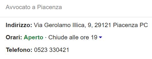 scheda su Google indirizzo telefono